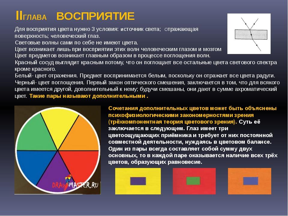 . Сочетания дополнительных цветов может быть объяснены психофизиологическими...