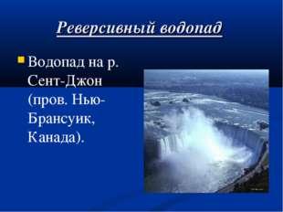 Реверсивный водопад Водопад на р. Сент-Джон (пров. Нью-Брансуик, Канада).