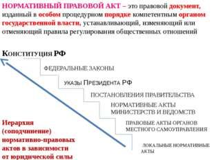 НОРМАТИВНЫЙ ПРАВОВОЙ АКТ – это правовой документ, изданный в особом процедурн