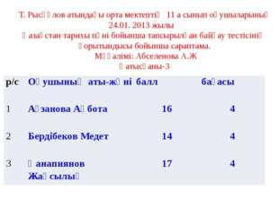 Т. Рысқұлов атындағы орта мектептің 11 а сынып оқушыларының 24.01. 2013 жылы
