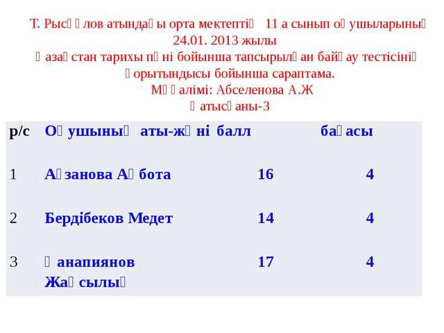 Т. Рысқұлов атындағы орта мектептің 11 а сынып оқушыларының 24.01. 2013 жылы...