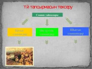 Батыс славяндар Шығыс славаяндар Оңтүстік славяндар Славян тайпалары Үй тапсы
