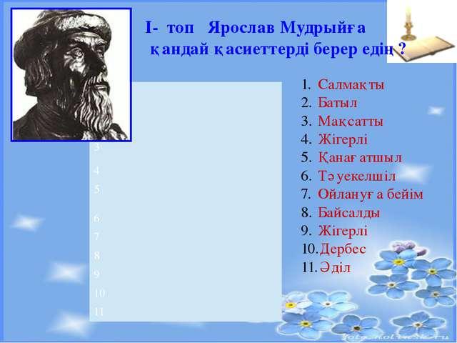 І- топ Ярослав Мудрыйға қандай қасиеттерді берер едің? мінездеме Салмақты Ба...