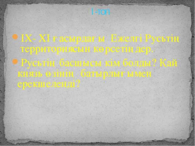 ІХ- ХІ ғасырдағы Ежелгі Русьтің территориясын көрсетіңдер. Русьтің басшысы кі...