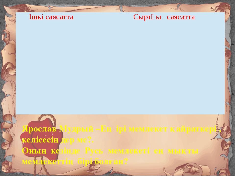 Ярослав Мудрый –Ең ірі мемлекет қайраткері , келісесіңдер ме?. Оның кезінде Р...