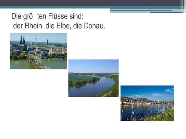 Die gröβten Flüsse sind: der Rhein, die Elbe, die Donau.