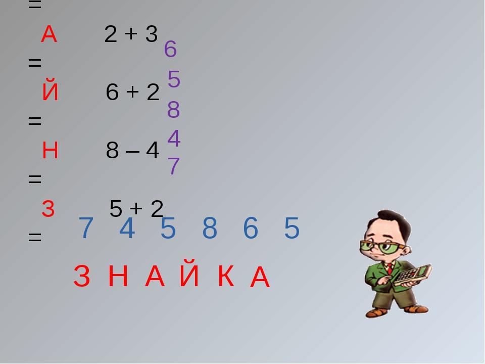 К 10 – 4 = А 2 + 3 = Й 6 + 2 = Н 8 – 4 = З 5 + 2 = 7 4 5 8 6 5 З Н А Й К А 6...