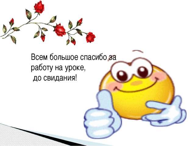 Всем большое спасибо за работу на уроке, до свидания!