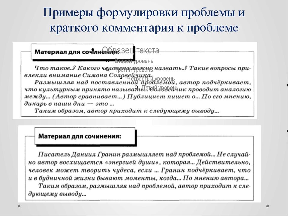 Примеры формулировки проблемы и краткого комментария к проблеме