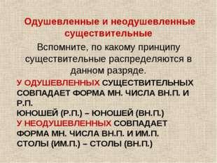 У ОДУШЕВЛЕННЫХ СУЩЕСТВИТЕЛЬНЫХ СОВПАДАЕТ ФОРМА МН. ЧИСЛА ВН.П. И Р.П. ЮНОШЕЙ