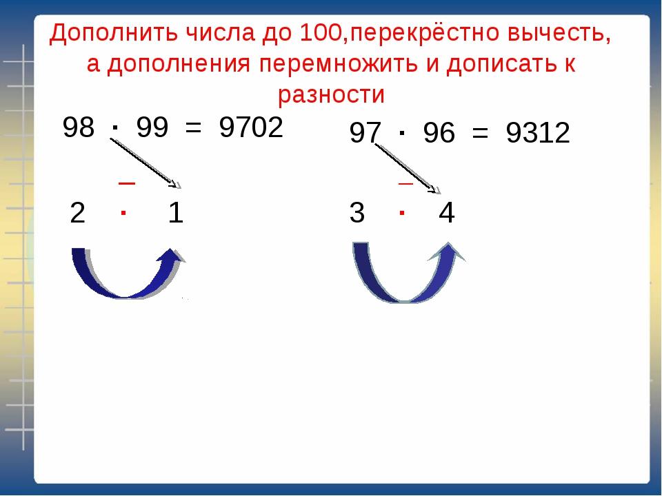 Дополнить числа до 100,перекрёстно вычесть, а дополнения перемножить и дописа...