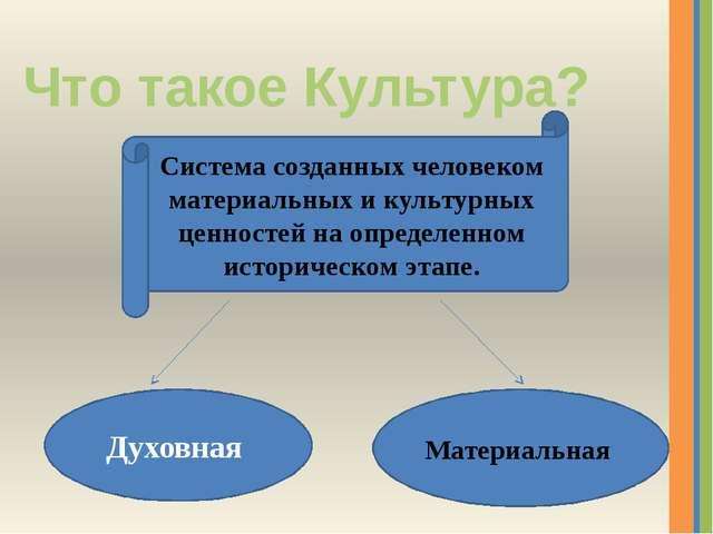 Что такое Культура? Система созданных человеком материальных и культурных цен...