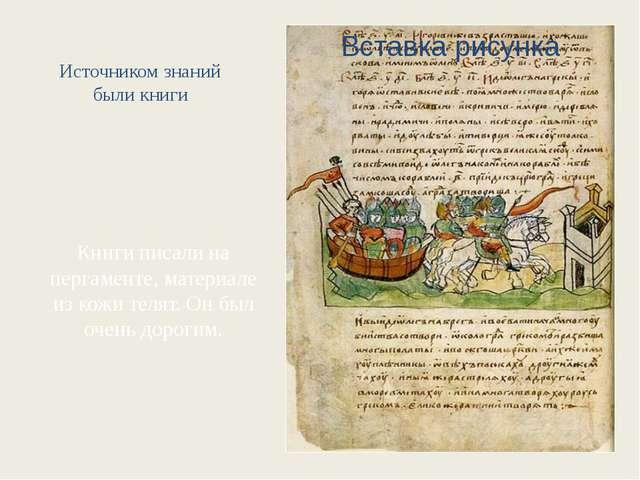 Источником знаний были книги Книги писали на пергаменте, материале из кожи те...
