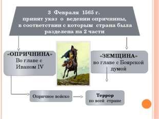 3 Февраля 1565 г. принят указ о ведении опричнины, в соответствии с которым