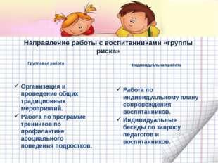 Направление работы с воспитанниками «группы риска» Организация и проведение о