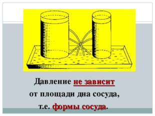 Давление не зависит от площади дна сосуда, т.е. формы сосуда.