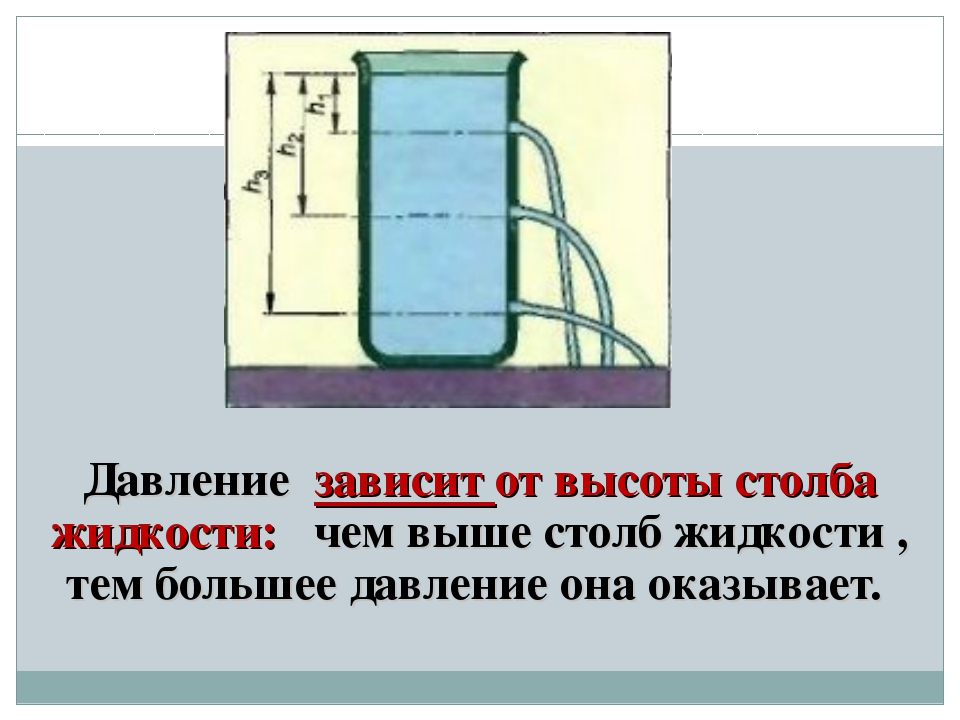 Давление зависит от высоты столба жидкости: чем выше столб жидкости , тем бол...