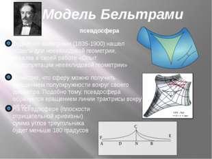 Модель Бельтрами псевдосфера Эудженио Бельтрами (1835-1900) нашел модель для