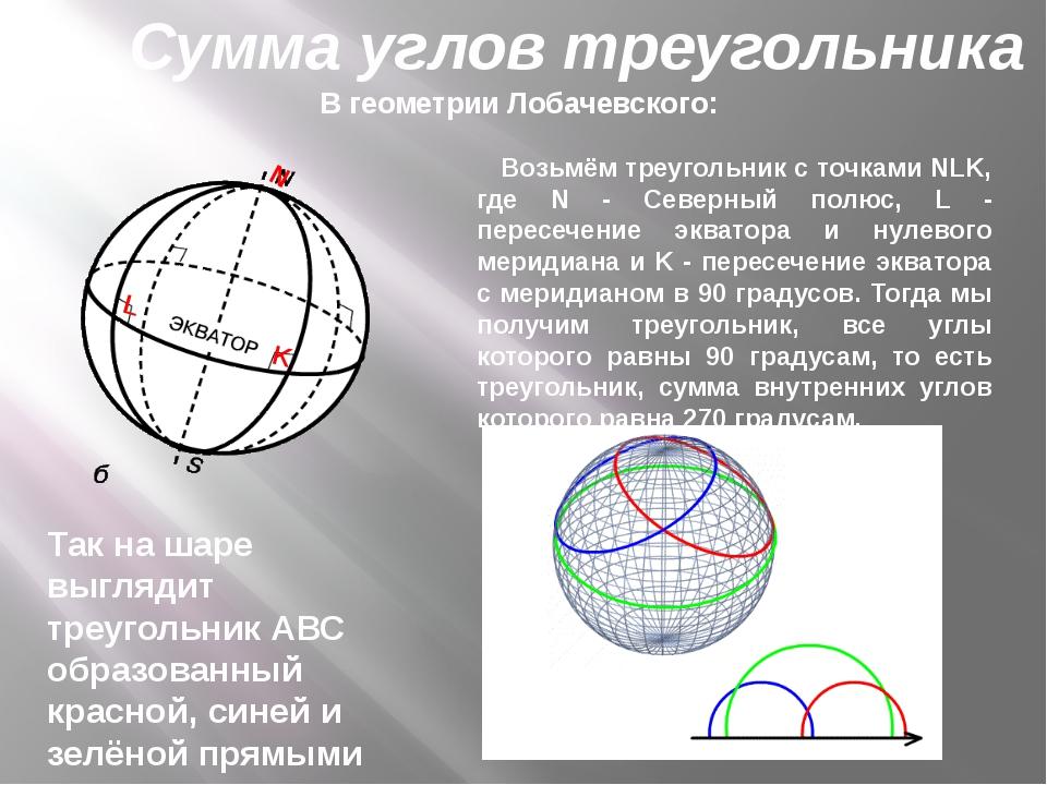 В геометрии Лобачевского: Возьмём треугольник с точками NLK, где N - Северный...
