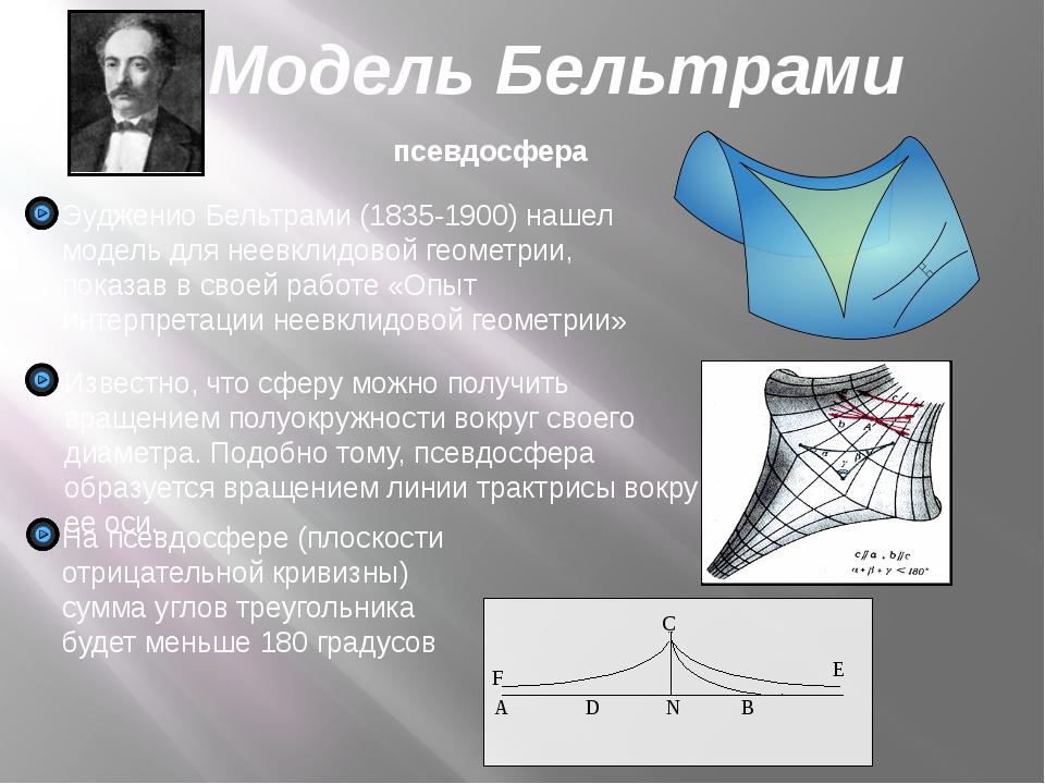 Модель Бельтрами псевдосфера Эудженио Бельтрами (1835-1900) нашел модель для...