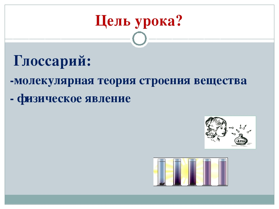 Цель урока? Глоссарий: -молекулярная теория строения вещества - физическое яв...