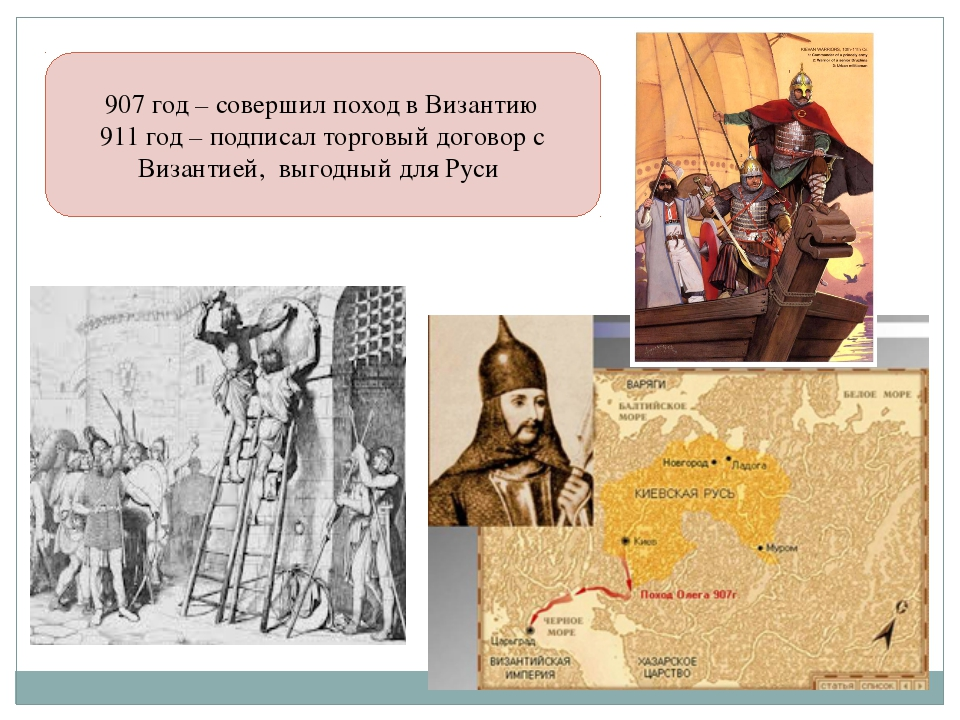 907 год – совершил поход в Византию 911 год – подписал торговый договор с Виз...