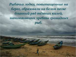 Рыбачьи лодки, повытащенные на берег, образовали на белом песке длинный ряд