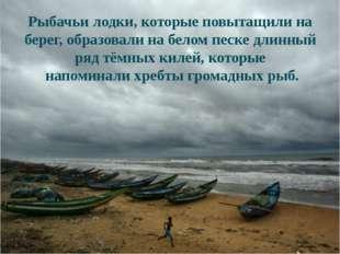 Рыбачьи лодки, которые повытащили на берег, образовали на белом песке длинны