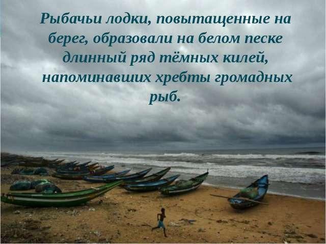 Рыбачьи лодки, повытащенные на берег, образовали на белом песке длинный ряд...