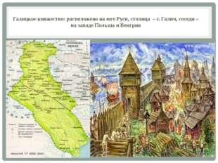 Галицкое княжество: расположено на юге Руси, столица – г. Галич, соседи – на