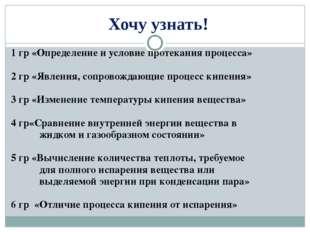 Хочу узнать! 1 гр «Определение и условие протекания процесса» 2 гр «Явления,