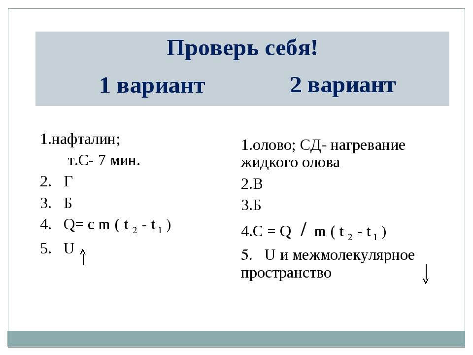 Проверь себя! 1 вариант2 вариант нафталин; т.С- 7 мин. 2. Г 3. Б 4. Q= c m...
