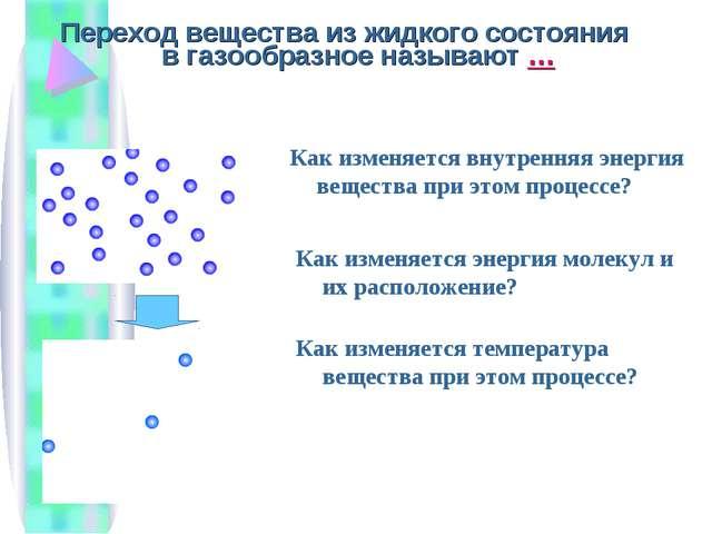Переход вещества из жидкого состояния в газообразное называют … Как изменяетс...