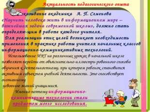 Высказывание академика А. П. Семенова «Научить человека жить в информационн