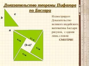 Доказательство теоремы Пифагора по Басхари Иллюстрирует Доказательство велико