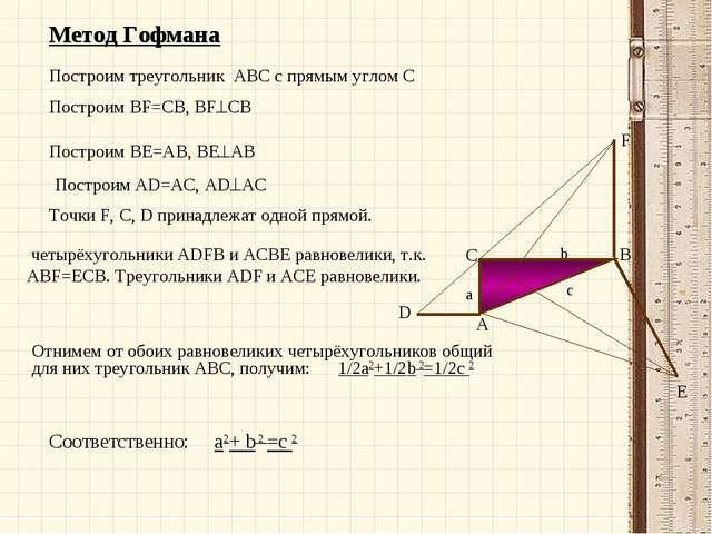 Метод Гофмана Построим треугольник ABC с прямым углом С Построим BF=CB, BFCB...