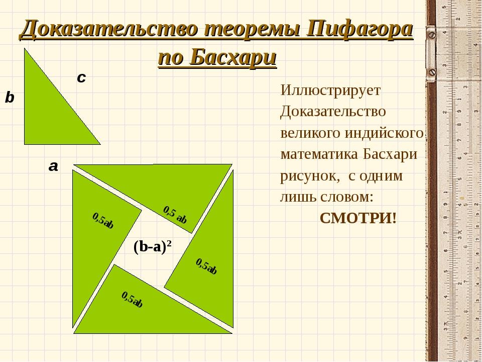 Доказательство теоремы Пифагора по Басхари Иллюстрирует Доказательство велико...