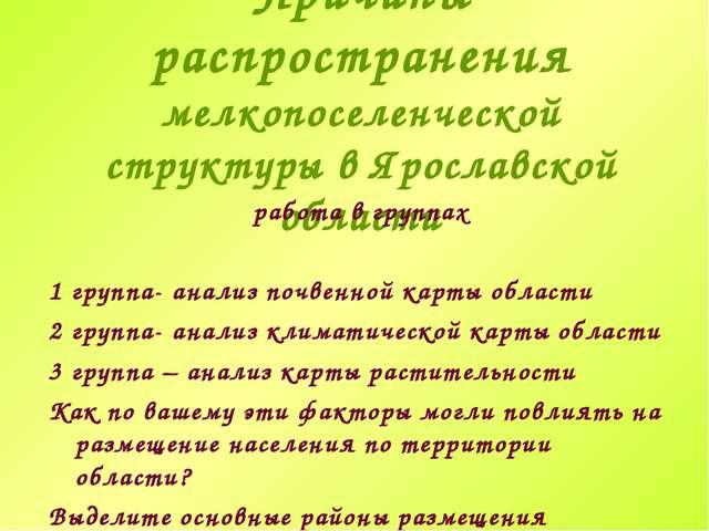 Причины распространения мелкопоселенческой структуры в Ярославской области ра...