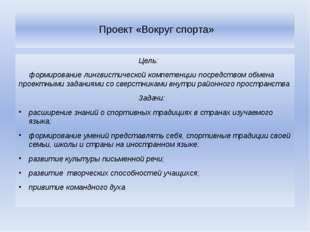 Проект «Вокруг спорта» Цель: формирование лингвистической компетенции посред