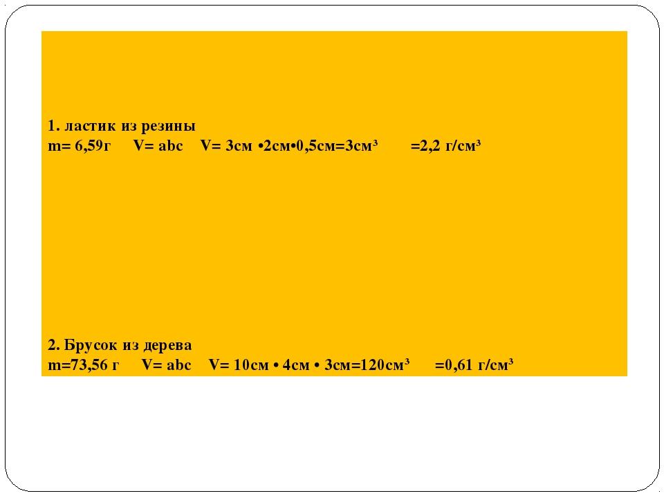 1. ластик из резины m= 6,59г   V= abc  V= 3см·•2см•0,5см=3см3     ρ...