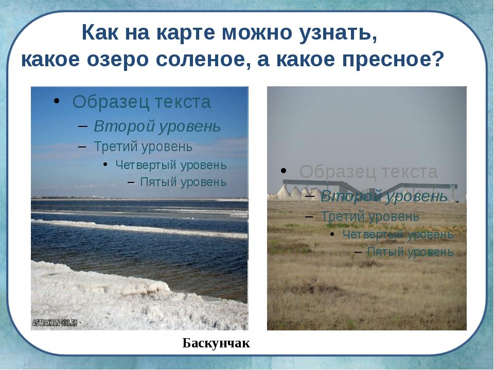 Баскунчак Как на карте можно узнать, какое озеро соленое, а какое пресное?