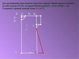 Для расширения низа изделия продлить вправо линию низа и отложить на ней отре