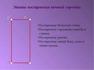В В1 Н Н1 Этапы построения ночной сорочки: Построение базисной сетки Построе