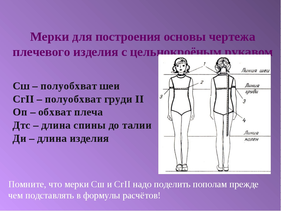 Мерки для построения основы чертежа плечевого изделия с цельнокроёным рукаво...