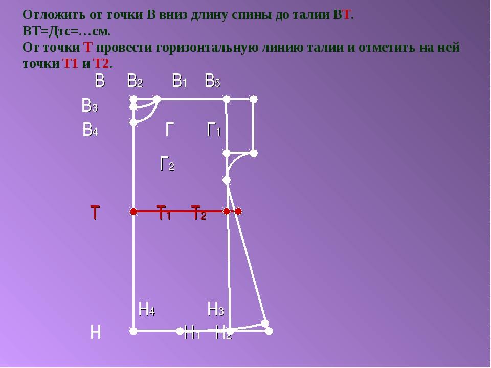 Отложить от точки В вниз длину спины до талии ВТ. ВТ=Дтс=…см. От точки Т пров...