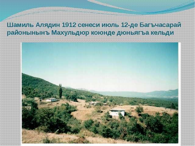 Шамиль Алядин 1912 сенеси июль 12-де Багъчасарай районынынъ Махульдюр коюнде...