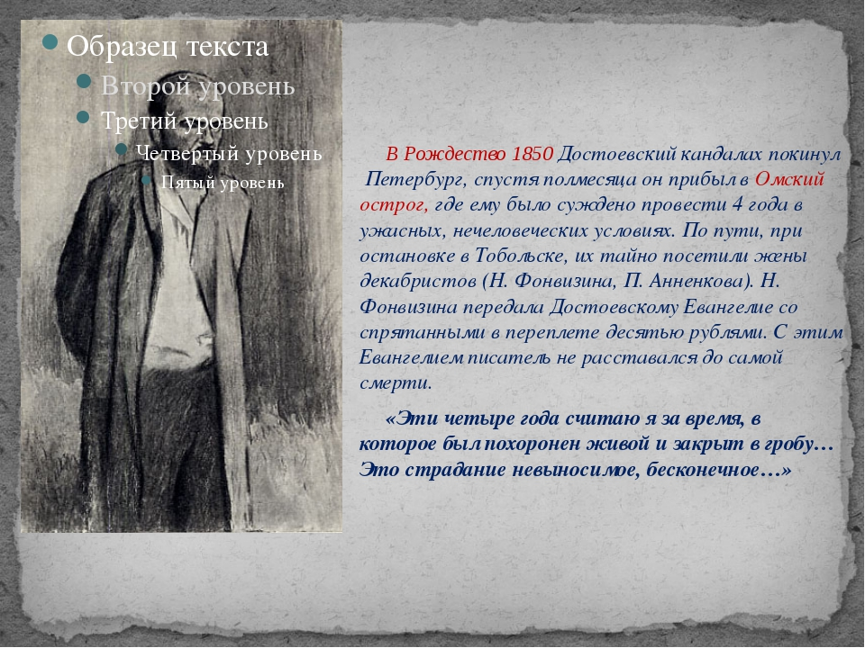В Рождество 1850 Достоевский кандалах покинул Петербург, спустя полмесяца...