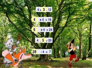 Х2= 4 х = 12 х 4 = 16 х 4 = 24 4 х = 20 : 4 = 7 3 4 6 5 28