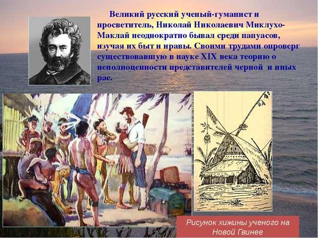Рисунок хижины ученого на Новой Гвинее Великий русский ученый-гуманист и прос...