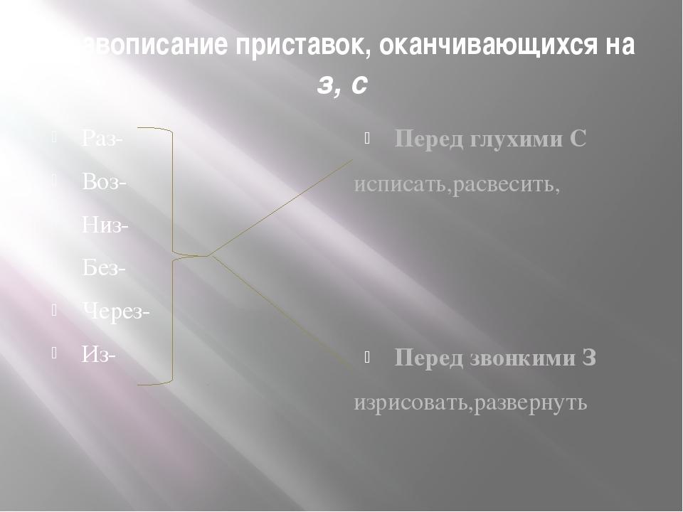 Правописание приставок, оканчивающихся на з, с Раз- Воз- Низ- Без- Через- Из-...